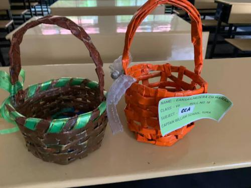 Best out of waste- Paper baskets -CCA works by students